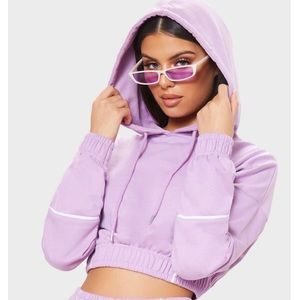 Lilac Contrast Binding Crop Hoodie Size Small